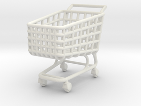 Miniature Shopping Trolley (Heroic scale) in White Strong & Flexible