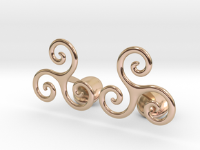 C109 Celtic Spiral Cufflinks in 14k Rose Gold Plated