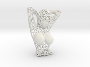 Female Bust Voronoi in White Strong & Flexible