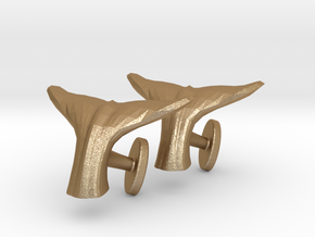 Whale tail cufflinks in Matte Gold Steel