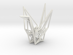 Origami Crane Wireframe in White Strong & Flexible