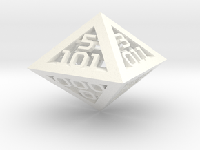 3 Bit Binary dice in White Strong & Flexible Polished
