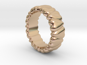 Ring Heart To Heart 17 - Italian Size 17 in 14k Rose Gold Plated