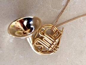 French Horn Pendant in 18k Gold Plated