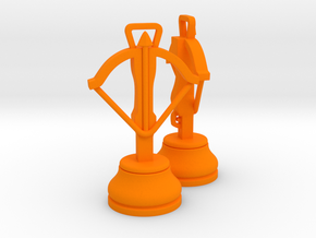 Pair Chess Crossbow / War Machine / Dabbabah  in Orange Strong & Flexible Polished