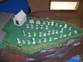 HO scale cemetery set in White Strong & Flexible