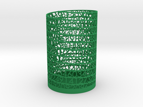 PI Pen and Pencil Holder - Tall in Green Strong & Flexible Polished
