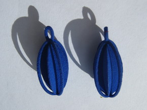 Oval Disk and Torus Earrings in Blue Strong & Flexible Polished