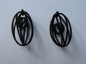 Ball in Cage Earrings in White Strong & Flexible
