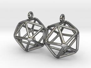 Icosahedron Earring in Polished Silver