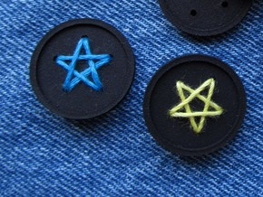 "1"" five-holed buttons (two) in Blue Strong & Flexible Polished"