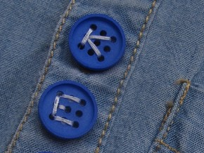 "5/8"" alphabet buttons (two) in Blue Strong & Flexible Polished"