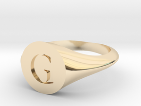 Letter G - Signet Ring Size 6 in 14k Gold Plated