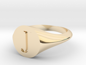 Letter J - Signet Ring Size 6 in 14k Gold Plated