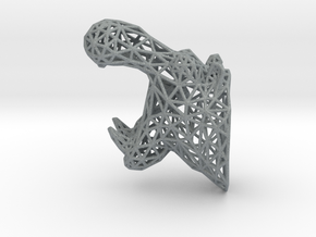 Hippo Trophy Wireframe 100mm in Polished Metallic Plastic