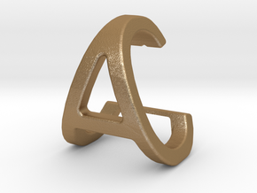 AC CA - Two way letter pendant in Matte Gold Steel