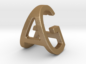 AG GA - Two way letter pendant in Matte Gold Steel