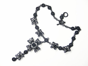 Gothic Cross Necklace Ⅱ in Black Strong & Flexible