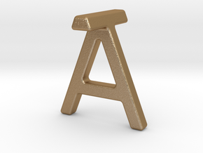 AT TA - Two way letter pendant in Matte Gold Steel