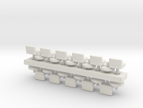 Lunch Stools Squarish HO Scale x11 in White Strong & Flexible