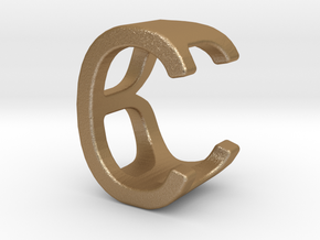 Two way letter pendant - BC CB in Matte Gold Steel
