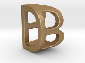 Two way letter pendant - BD DB in Matte Gold Steel