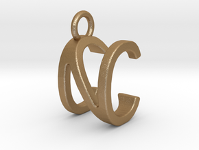 Two way letter pendant - CN NC in Matte Gold Steel