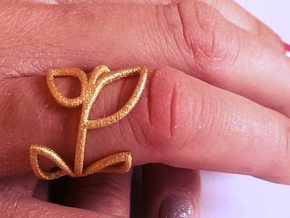 Vine Ring size 7.5 in Matte Gold Steel