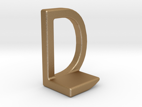 Two way letter pendant - DL LD in Matte Gold Steel