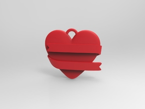 Heart With Ribbon in Red Strong & Flexible Polished