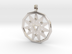 ELEVEN WHITE STAR in Rhodium Plated