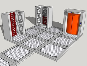 15mm Sci-Fi Ladders and Lifts in White Acrylic