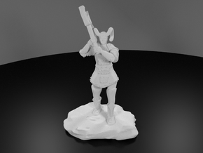 Tiefling Paladin Mini in Plate with Great Axe in White Strong & Flexible Polished