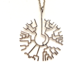 Phylogenetic Tree pendant: science jewelry in Polished Silver