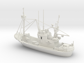 Fishing boat 01. N Scale (1:160) in White Strong & Flexible