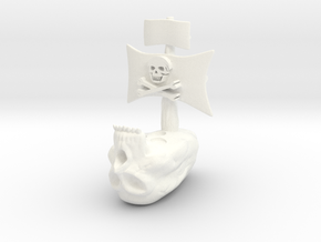 Skull Ship2 in White Strong & Flexible Polished