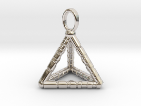 TETRAHEDRON (stage one) pendant in Rhodium Plated
