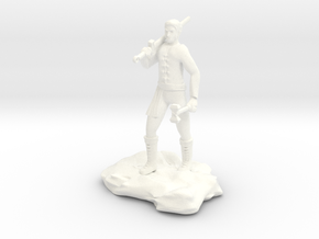 Half Orc Sorcerer With Sword And Hammer in White Strong & Flexible Polished