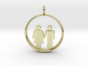 Man Loves Woman Pendant 2 - (Medium) in 18k Gold Plated