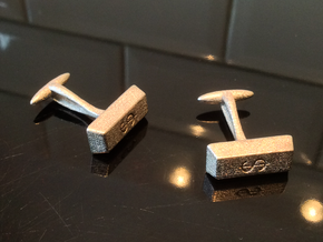 Goldbar Cufflinks $ engraving in Polished Nickel Steel