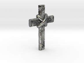 Wooden Cross in Polished Silver