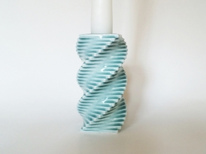 Porcelain Step Candle Holder (medium) in Gloss Celadon Green Porcelain