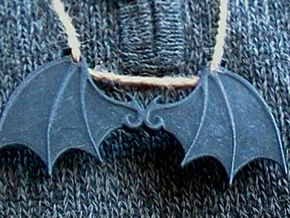 Bat wings 2 ring pendant in Black Strong & Flexible