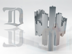 (Size 8) Detroit Skyline Reflection Ring in Premium Silver