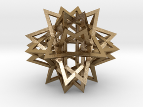 Tetrahedron 8 Compound, large in Polished Gold Steel