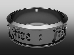 Ring old english - Fire : Air : Water : Earth in Stainless Steel