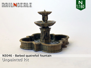 Barbed quatrefoil fountain (N 1:160) in Frosted Ultra Detail