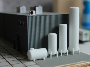 N scale 10 vertical tanks in White Strong & Flexible