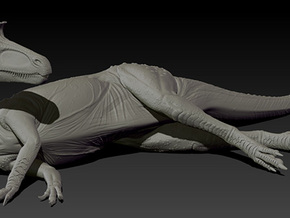 1/40 Cryolophosaurus - Laying on Side in White Strong & Flexible
