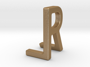 Two way letter pendant - LR RL in Matte Gold Steel